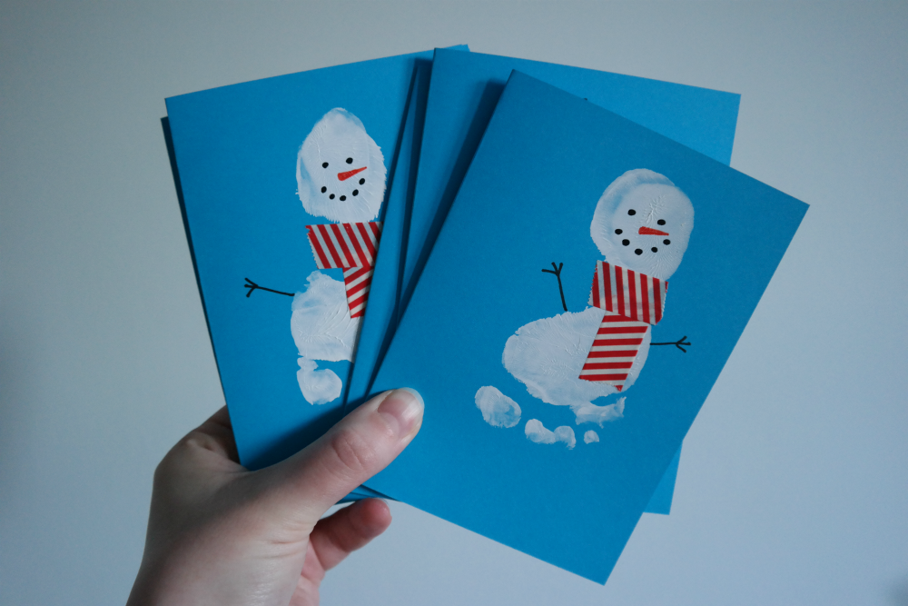 Snowman Christmas Cards Ideas.Snowman Footprint Card Christmas Card Ideas